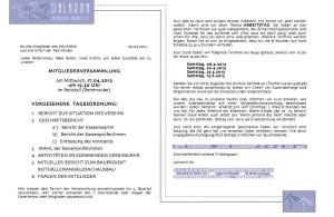Einladung Mitgliderversammlung 2013